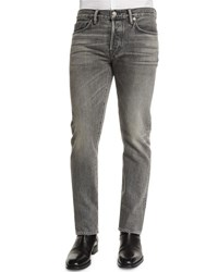 Tom Ford Straight Fit Faded Wash Denim Jeans Gray