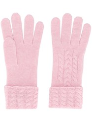 N.Peal Cable Knit Gloves Pink