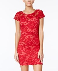 Crystal Doll Juniors' Scalloped Lace Bodycon Dress Red