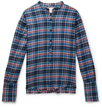 Greg Lauren Classic Studio Grandad Collar Distressed Checked Cotton Flannel Shirt Blue