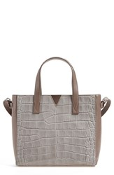 Vince 'Baby Signature V' Croc Embossed Tote Grey New Stone