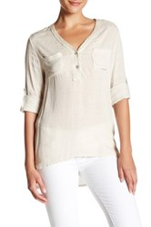 Luma Sequined V Neck Hi Lo Blouse Beige