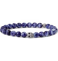 Paul Smith Skull Glass Bead Bracelet Blue