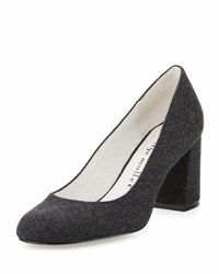 Bettye By Bettye Muller Castle Round Toe Chunky Heel Pump Charcoal