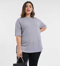 Asos Design Curve Relaxed Longline T Shirt In Rib With Side Splits In Ice Grey