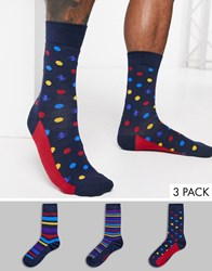 Penguin 3 Pack Socks In Cube Box In Broad Red And Blue Stripes Multi
