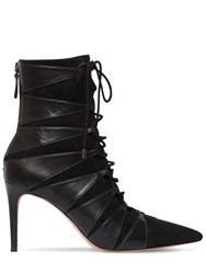 Alexandre Birman 85Mm Becca Leather And Suede Ankle Boots Black