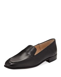 Gravati Flat Leather Smoking Loafer Black