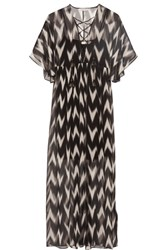Rachel Zoe Carroll Printed Crinkled Silk Chiffon Maxi Dress Black