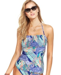 Kenneth Cole Reaction Paisley Smocked Tankini Top Women's Swimsuit