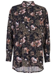 French Connection Adeline Dream Drape Pull Over Shirt Olive Multi
