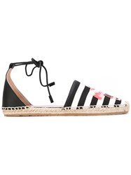 Red Valentino Flamingo Striped Espadrilles Women Leather Polyester Rubber 41 Black