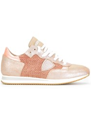 Philippe Model Panelled Lace Up Sneakers Nude Neutrals