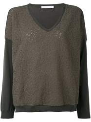 Fabiana Filippi Contrast Sweatshirt Women Cotton Polyester 42 Green