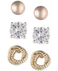 Nine West Knot Ball And Stud Trio Set Of Earrings
