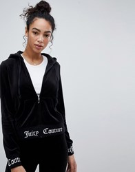 Juicy Couture Black Label Velour Hoodie With Logo Waistband And Cuff Pitch Black