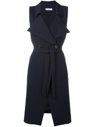 Versace Collection Sleeveless Double Breasted Coat Blue