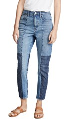 Madewell High Rise Slim Boyfriend Patching Jeans Jenkins Wash