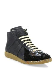 Maison Martin Margiela Replica Paint Splatter Mid Top Sneakers Amber