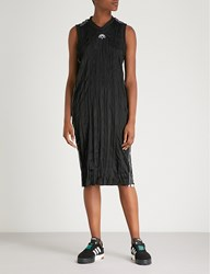 Adidas By Alexander Wang Logo Embroidered Crinkled Midi Dress Black