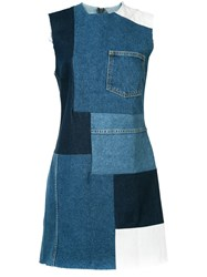 Grlfrnd Patched Mini Denim Dress Women Cotton M Blue