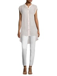 Eileen Fisher Hi Lo Stand Collar Shirt Shell Pink