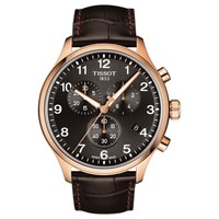 Tissot T1166173605701 'S Classic Chronograph Date Leather Strap Watch Brown Black