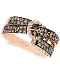 Le Vian Chocolate 5 8 Ct. T.W. And White Diamond 1 10 Ct. T.W. 2 Row Buckle Ring In 14K Rose Gold