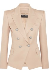 Balmain Double Breasted Wool Blazer Beige