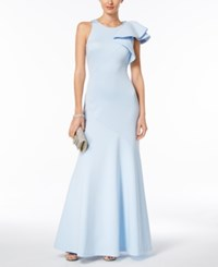 Betsy And Adam Ruffled Scuba Gown Light Blue
