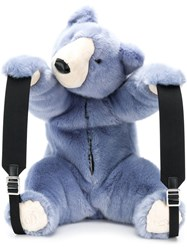 Dolce And Gabbana Faux Fur Teddy Backpack Blue