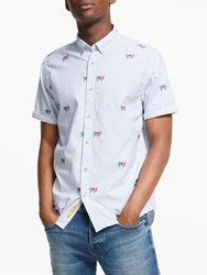 Scotch And Soda Stripe Diving Embroidered Shirt Purple