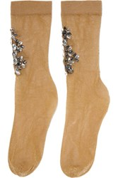 Dolce And Gabbana Crystal Embellished Metallic Knitted Socks Gold