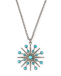 Margo Morrison Turquoise And Diamond Starburst Pendant