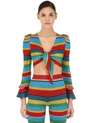 Moschino Striped Lurex Knit Crop Top Multicolor