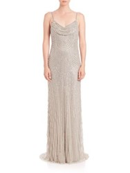 Alberto Makali Sequined Cowlneck Gown Silver