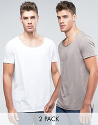 Asos 2 Pack Longline T Shirt In Grey White With Scoop Neck And Raw Edges Save Clam White Multi