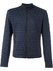 Versace Collection Padded Star Detail Jacket Blue