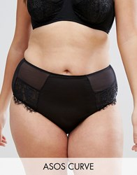 Asos Curve Olivia Lace French Knicker Black