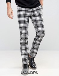 Reclaimed Vintage Skinny Tartan Trousers Black