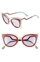 Women's Fendi 49Mm Cat Eye Sunglasses Beige Red Burgundy