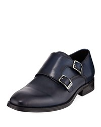 Karl Lagerfeld Textured Double Monk Loafer Navy