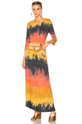 Raquel Allegra 3 4 Sleeve Drama Maxi Dress In Green Ombre And Tie Dye Red Yellow Green Ombre And Tie Dye Red Yellow