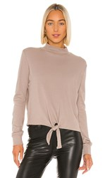 Lamade La Made Bowie Tie Front Top In Taupe. Moon Rock