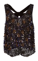 Monique Lhuillier V Neck Sequin Top Black