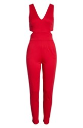 Fraiche By J Faiche Cutout Jumpsuit Red