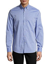 Report Collection Casual Diamond Patterned Cotton Shirt Blue