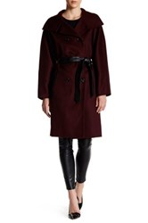 Mackage Genuine Leather Trim Wool Blend Oversized Coat Red
