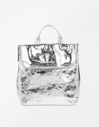 Whistles Mini Verity Leather Backpack In Silver Silvercrack