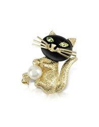 A Z Collection Green Eyed Cat Pin Gold